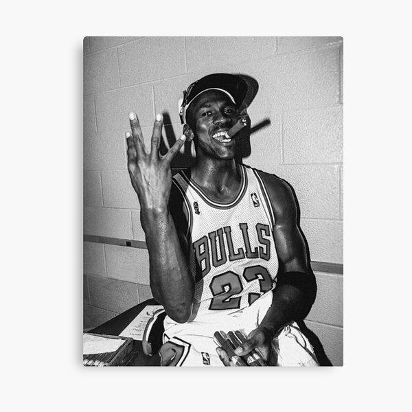 90's vintage Michael Jordan Three-tourbe noir et blanc Impression sur toile