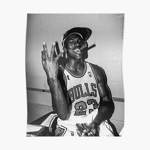 90's vintage Michael Jordan Three-peat Black and White Poster