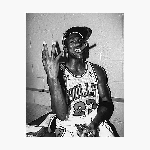 90's vintage Michael Jordan Three-tourbe noir et blanc Impression photo