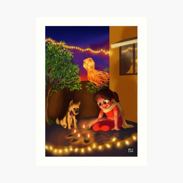 Diwali with Pup  Art Print
