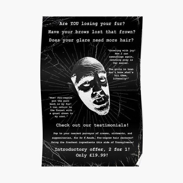 Bald Werewolf Badvert Prints | Bite-sized Horror for Halloween | Vintage Horror Poster