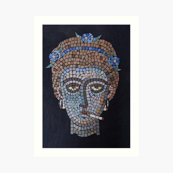 Smoking Byzantine mosaic head Art Print