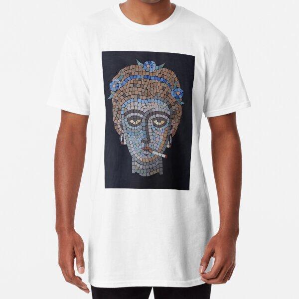 Smoking Byzantine mosaic head Long T-Shirt