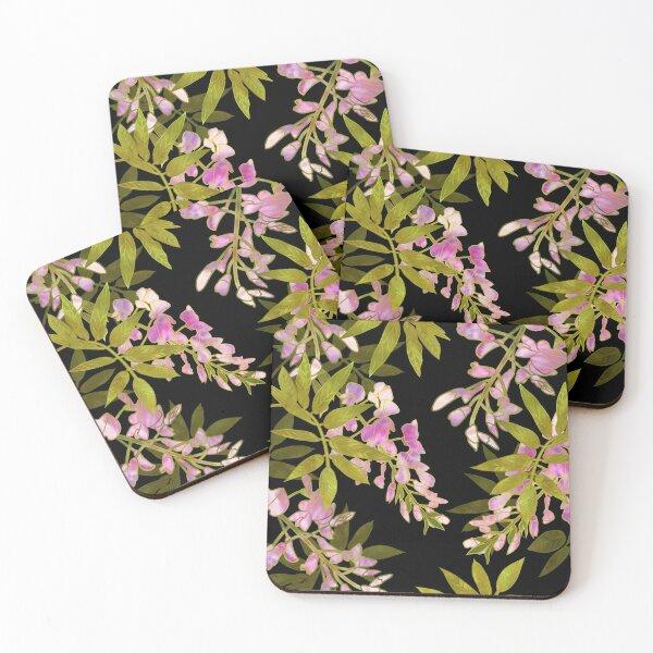 Pink Wisteria Blossom Coasters (Set of 4)