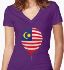 Malaysia Flag Women's Fitted V-Neck T-Shirt