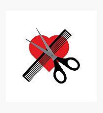 scissors & comb & heart Photographic Print