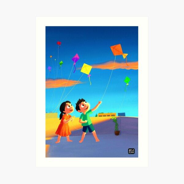 Kite flying Art Print