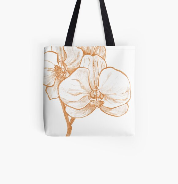 Gold Orchid III All Over Print Tote Bag