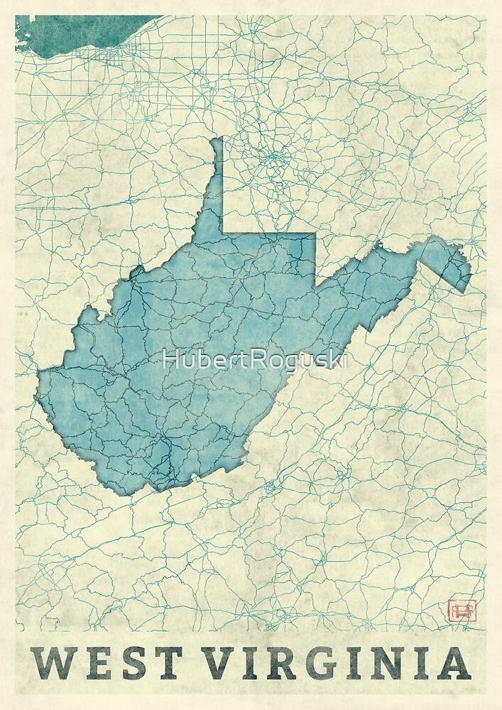 West Virginia State Map Blue Vintage by HubertRoguski