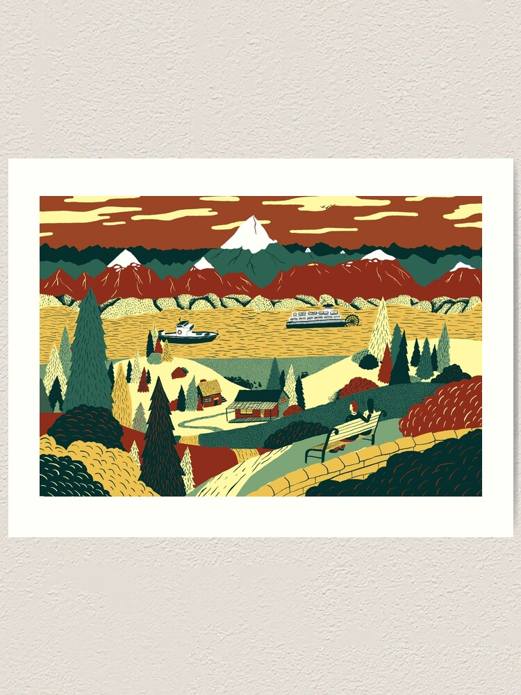 Alternate view of Lake View Art Print