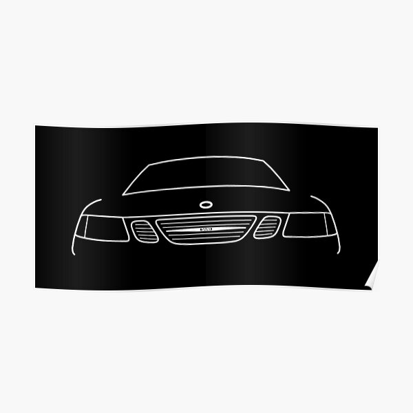 Saab 9-3 classic car white outline graphic Poster