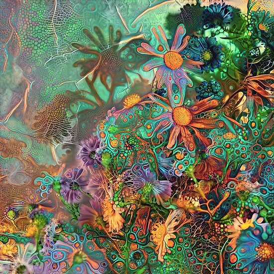 Flower abstract deep dream painting