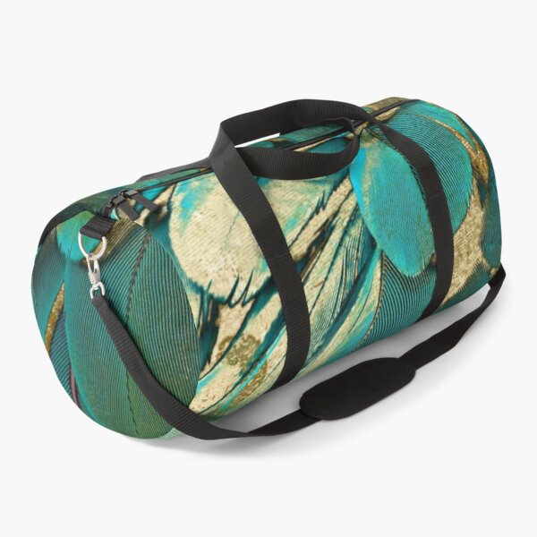 Feather Glitter Teal and Gold Duffle Bag