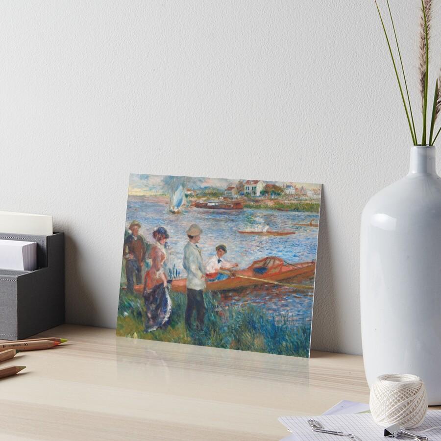 Oarsmen at Chatou Painting by Auguste Renoir Art Board Print