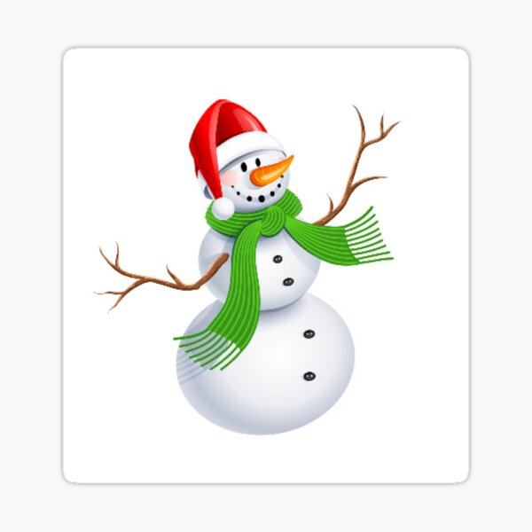 Vintage Sticker Expressions Christmas Holiday Snowman Snow Scarf Hat