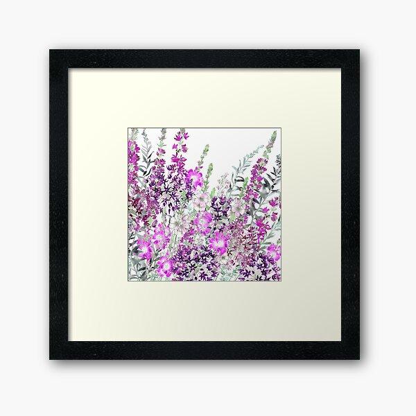Pink Flower Garden - Sidalcea, Alliums & Purple Loosestrife Framed Art Print