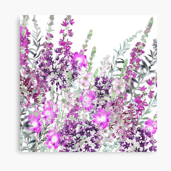 Pink Flower Garden - Sidalcea, Alliums & Purple Loosestrife Canvas Print