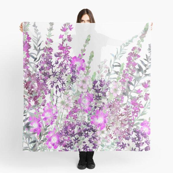 Pink Flower Garden - Sidalcea, Alliums & Purple Loosestrife Scarf