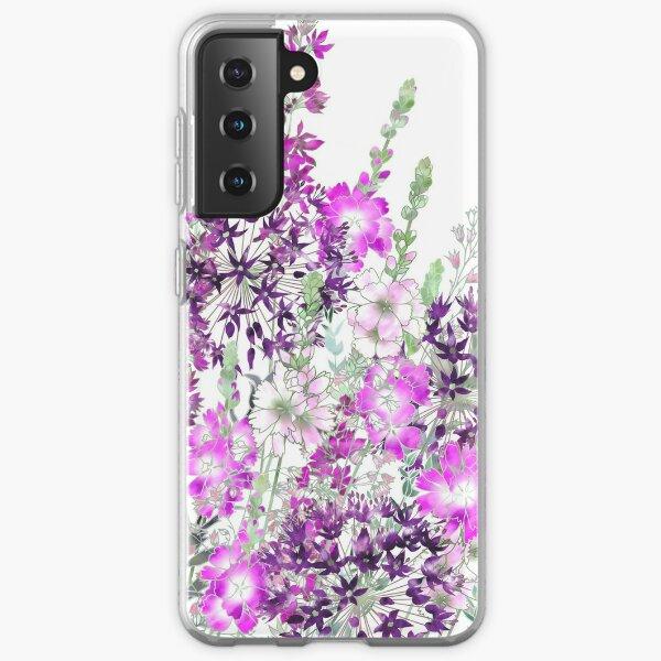 Pink Flower Garden - Sidalcea, Alliums & Purple Loosestrife Samsung Galaxy Soft Case