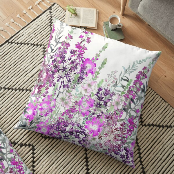 Pink Flower Garden - Sidalcea, Alliums & Purple Loosestrife Floor Pillow