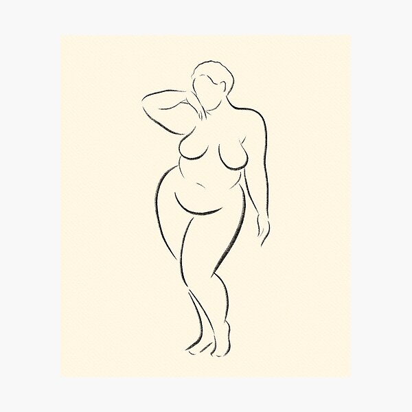Body positive minimalist line silhouette art modern ink sketch plus size nude life study by BopoWatercolour  Photographic Print