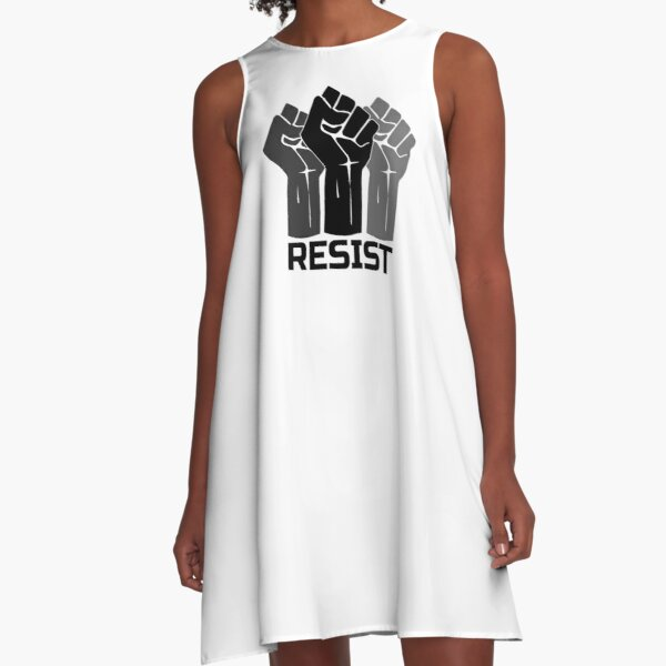 Resist with Fist 3 - in black A-Line Dress