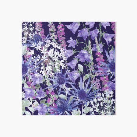 Sea Holly, Harebells (Campanula), White Alliums & Purple Loosestrife Art Board Print
