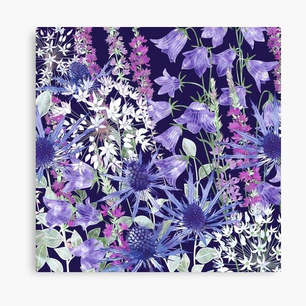 Sea Holly, Campanula, White Alliums & Purple Loosestrife Canvas Print
