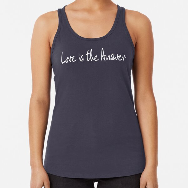 Love Is The Answer - White Print Racerback Tank Top