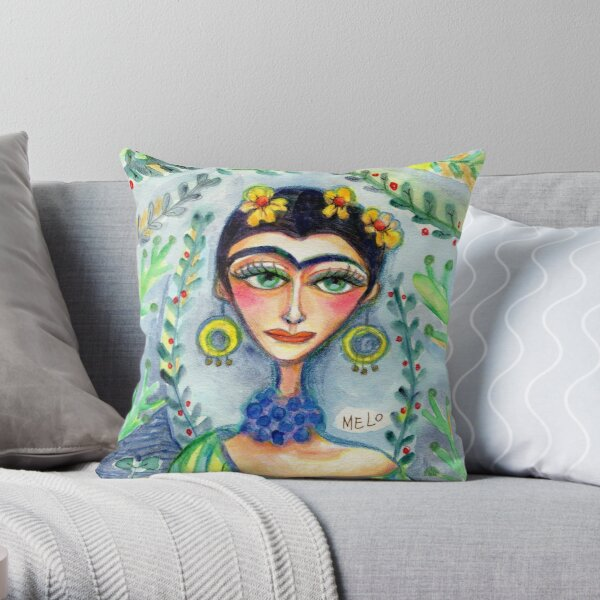 Frida in her Garden  Throw Pillow