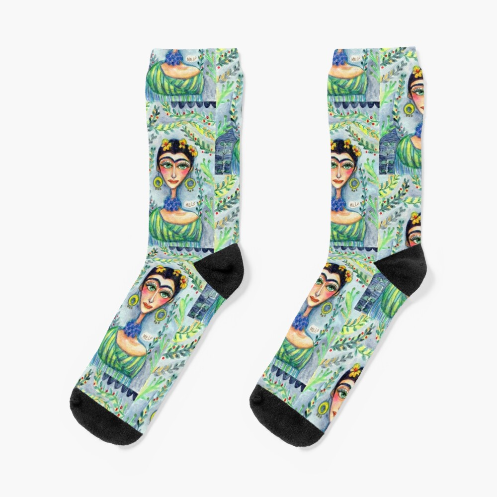 Frida in Blue with Flowers and Berries  Socks