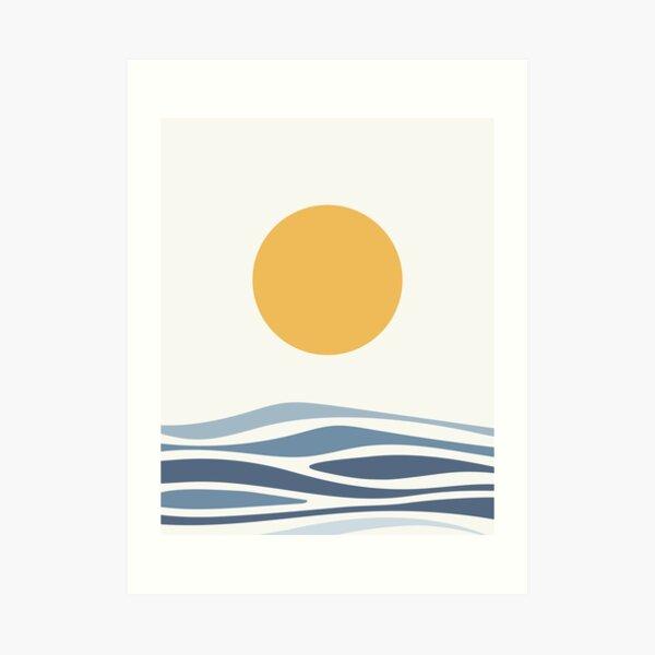 Blue Ocean Waves and Sun Art Print