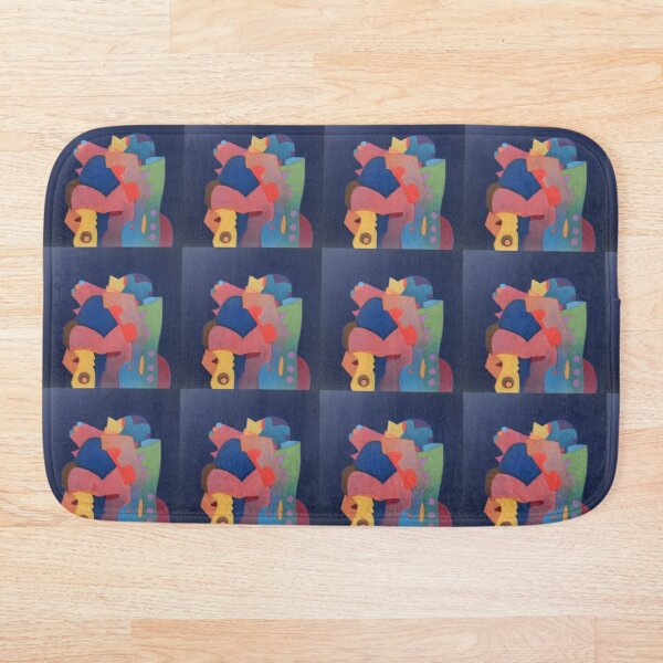 The Washing-Up Monster, #darkblue #redbubble Bath Mat