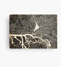 Hamburg map ink lines Metal Print