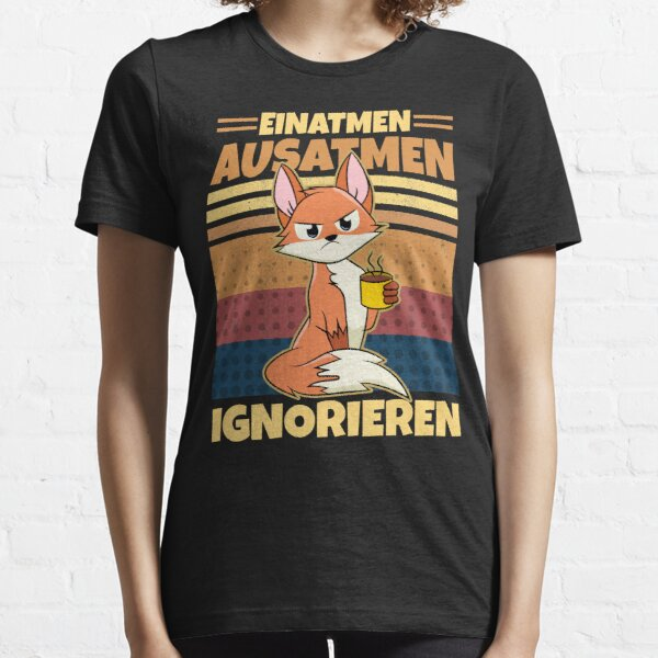 Inhale exhale ignore coffee vintage fox saying Essential T-Shirt