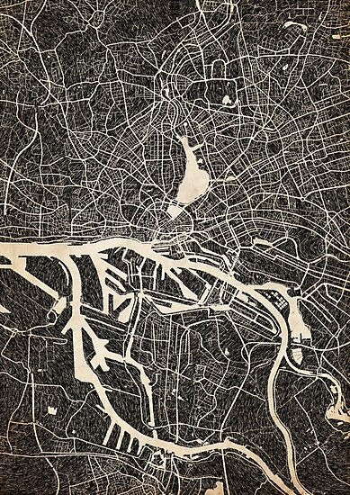 Hamburg map ink lines 2 by InkMaps