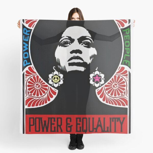 Rainbow Motif - Angela Davis - Power & Equality - Power to the People Vintage Poster Scarf