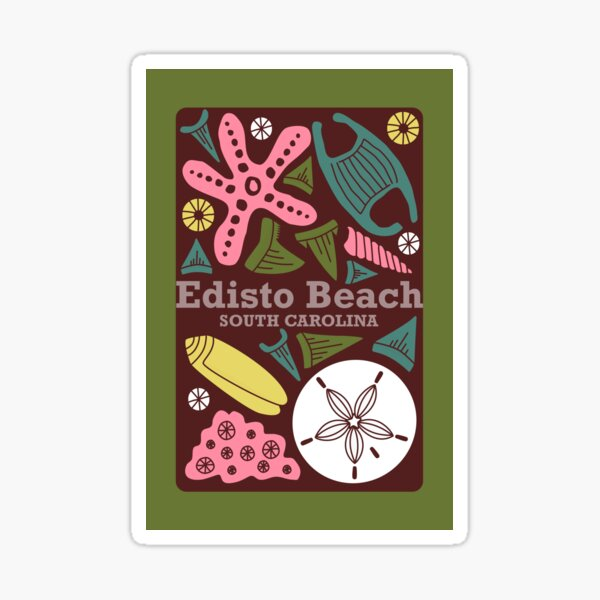 """Edisto Beach"" Retro Scandinavian Journal Notebook Diary Magnet Design Sticker"