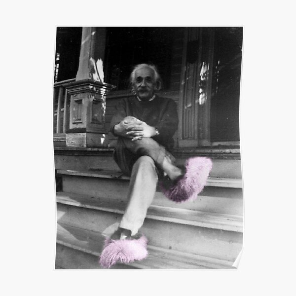 Albert Einstein in Fuzzy Pink Slippers Classic E = mc² Black and White Photograph Poster