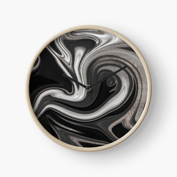 Modern Black and Silver Marble Abstract Clock