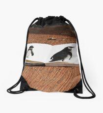 Penguins on Paper Drawstring Bag