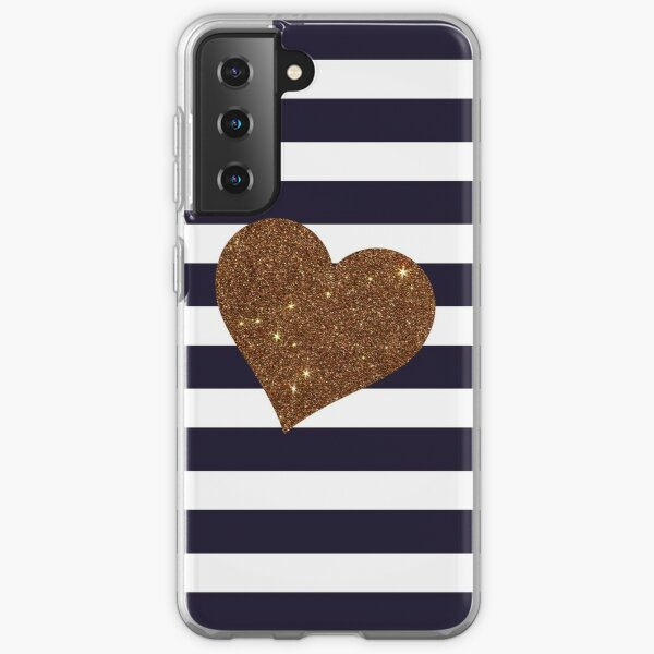 Modern Glamorous Gold Faux Glitter Heart Stripes Samsung Galaxy Soft Case