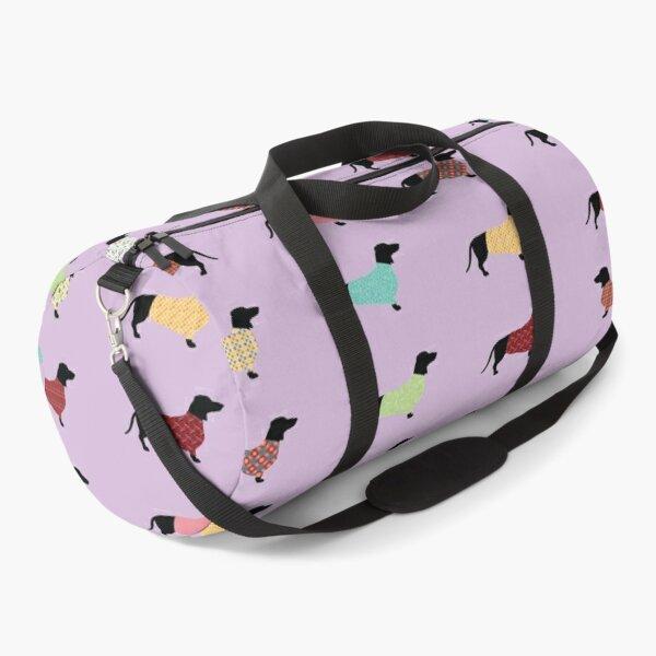 Dachshund Pattern with Purple Sweaters #251 Duffle Bag