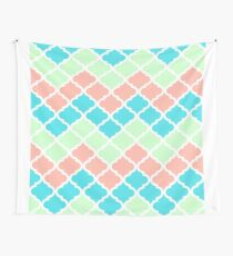 Chevron Quatrefoil Mint Peach Blue Pattern Wall Tapestry
