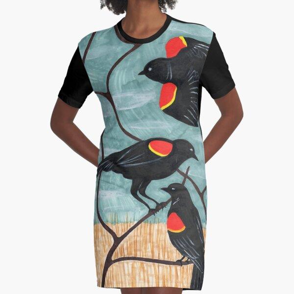 Red Winged Blackbirds by Amanda Laurel Atkins Graphic T-Shirt Dress