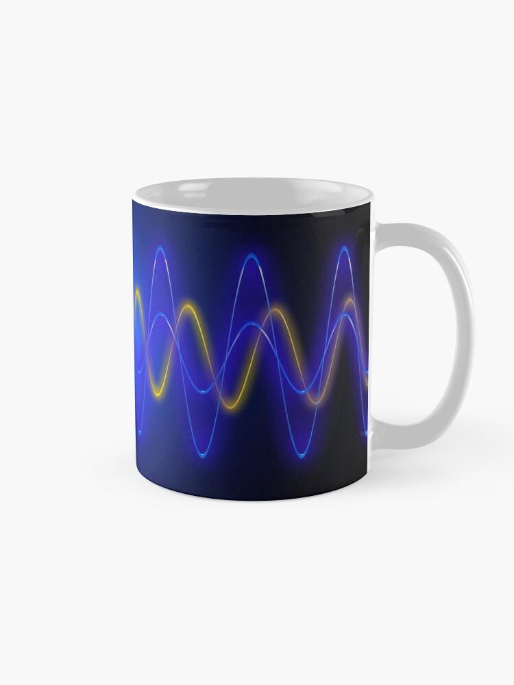Alternate view of Cool Blue EMF Wave Mask Abstraction Mug