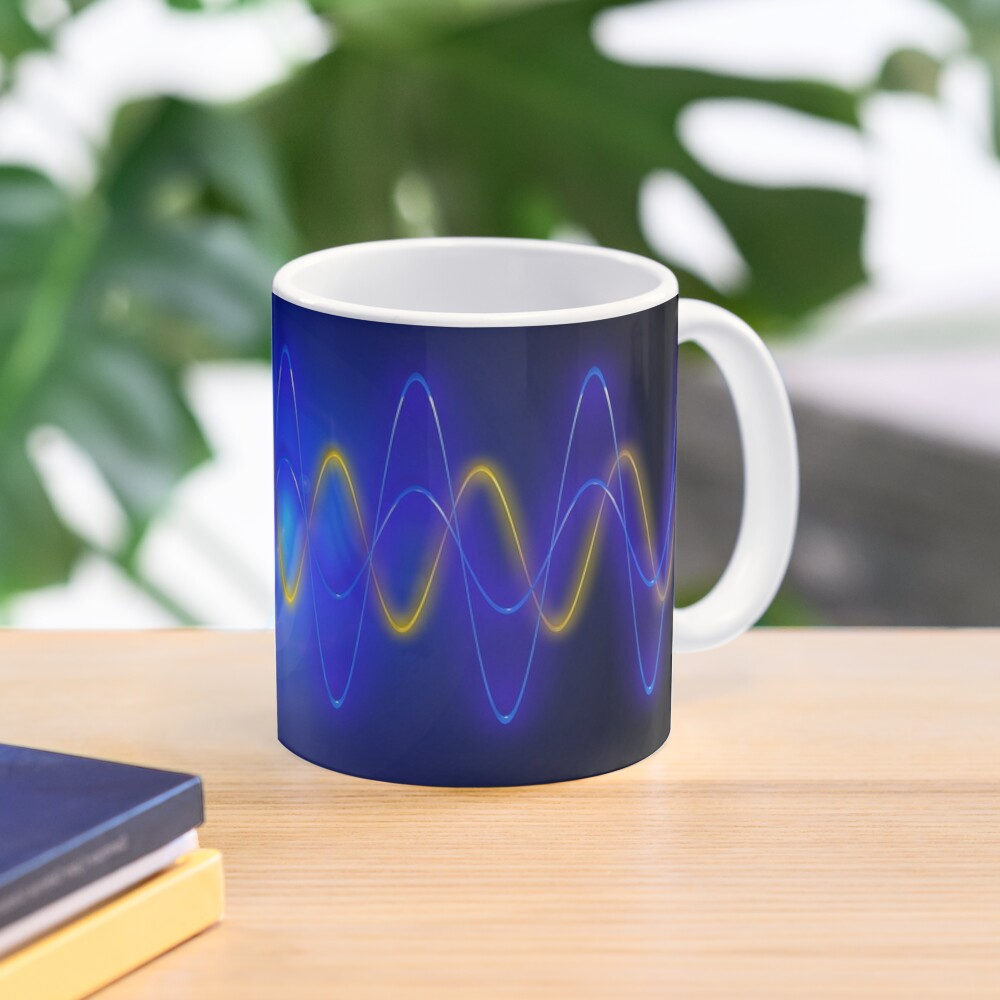 Cool Blue EMF Wave Mask Abstraction Mug