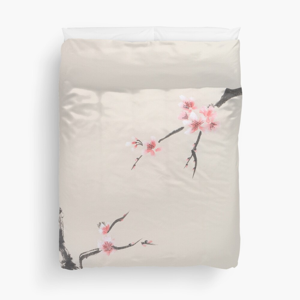 Sakura tree branches with cherry blossom flowers oriental Zen Sumie painting on beige rice paper art print Duvet Cover