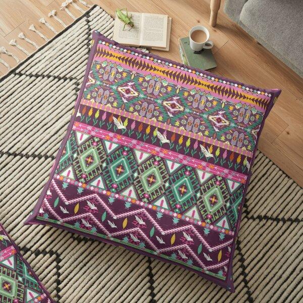 Purple And Green Aztec Merchandise Floor Pillow