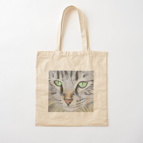 Cat in Coloured Pencil Cotton Tote Bag